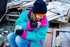 Homeless woman. A portrait of a homeless hungry woman stock photography