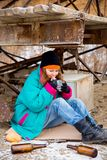 Homeless woman. A portrait of a homeless hungry woman stock photo