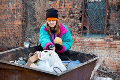 Homeless woman. A portrait of a homeless hungry woman stock image