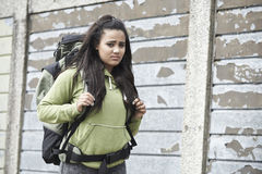 Portrait Of Homeless Teenage Girl On Street With Rucksack Royalty Free Stock Photo