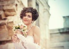 Portrait of hopeful bride Stock Photo