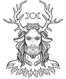 Portrait of horned god Cernunnos. Mysticism, esoteric, paganism, occultism. Linear monochrome drawing. Vector illustration isolated on a white background stock illustration