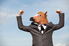 Portrait of Horse Businessman Stock Images