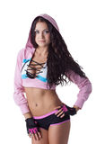 Portrait of hot sporty brunette looking at camera Royalty Free Stock Photo