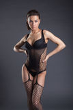 Portrait of hot woman in erotic black lingerie Stock Photos
