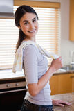 Portrait of a housewife posing. In her kitchen Stock Photos