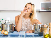 Portrait of  housewife posing at  kitchen Stock Photos