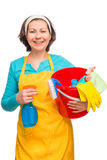 Portrait of a housewife ready to clean Stock Photography