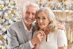 Portrait of a hugging senior couple with blurred Christmas decorations royalty free stock image