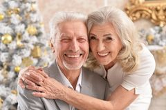 Portrait of a hugging senior couple with blurred Christmas decorations stock images