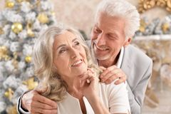 Portrait of a hugging senior couple with blurred Christmas decorations stock image