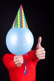 Portrait of a humans body with balloon. Instead of head Stock Photos