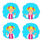 Portrait,icon of a young smiling girl Royalty Free Stock Images