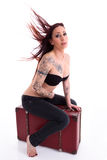Portrait if young beautiful sexy tattooed woman Royalty Free Stock Image