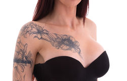 Portrait if young beautiful sexy tattooed woman Stock Image