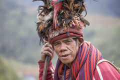 Portrait ifugao man in national dress next to rice terraces.. Philippines. Stock Images