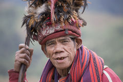 Portrait ifugao man in national dress next to rice terraces.. Philippines. Stock Photos