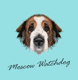 Portrait illustré par vecteur de chien de chien de garde de Moscou illustration stock