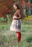 Portrait im Herbstwald Stockbild