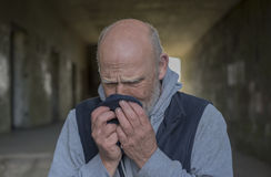 Portrait image of a mature man upset and crying Royalty Free Stock Images