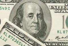 Portrait image of 100 US dollars Stock Photo