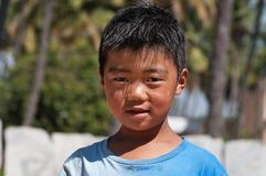 Portrait of Indian boy on the street in Bangalore Royalty Free Stock Image