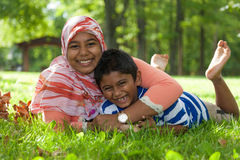 Portrait of indian brother and sister playing Stock Photo