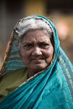 Portrait of Indian elder woman in local morning market at Hospet. Karnataka,South India stock photo