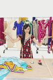 Portrait of Indian female tailor with hand gestures at design studio Stock Photography