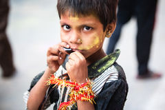 Portrait of Indian girl in the crowd Royalty Free Stock Photo