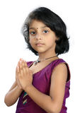 Portrait of Indian Girl Praying Stock Photo