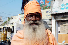 Portrait of an Indian Hindu sadhu begging or seeking help on the road Royalty Free Stock Images