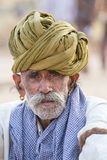 Portrait indian man attended the annual Pushkar Camel Mela. India Stock Photos