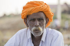 Portrait indian man attended the annual Pushkar Camel Mela. India Stock Image