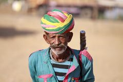 Old Rajasthani man with turban.Festival-Pushkar Royalty Free Stock Image