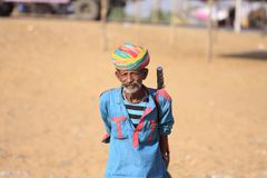 Old Rajasthani man with turban.Festival-Pushkar Royalty Free Stock Photos