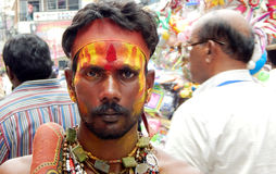 Portrait of Indian man dressed and decorated as pothuraju during Bonalu hindu festival Stock Photography