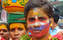 Portrait of Indian man dressed and decorated as pothuraju during Bonalu hindu festival Stock Photo