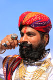 Portrait of indian man taking part in Mr Desert competition, Jaisalmer, India. Portrait of indian man taking part in Mr Desert competition, Jaisalmer, Rajasthan stock images