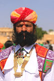 Portrait of indian man taking part in Mr Desert competition, Jaisalmer, India. Portrait of indian man taking part in Mr Desert competition, Jaisalmer, Rajasthan stock photography