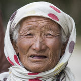Portrait indian old woman. Leh, India Royalty Free Stock Photo