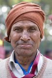 Portrait indian poor man. New Delhi, India. NEW DELHI, INDIA - JANUARY 23, 2017 : Indian poor man came to see preparations for the India Day parade in New Delhi stock image