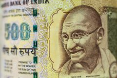 Portrait on indian Rupee bill royalty free stock image