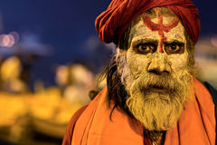 Portrait of an Indian Sadhu in Varanasi, India Royalty Free Stock Image