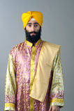 Portrait of Indian sikh man with bushy beard standing against a grey background Stock Images