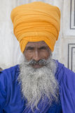 Portrait indian sikh man in turban with bushy beard. Amritsar, India Royalty Free Stock Photo