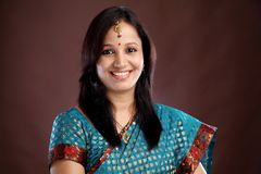Portrait of Indian traditional woman Stock Images