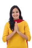 Portrait of an Indian woman greeting Stock Images