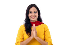 Portrait of an Indian woman greeting - Namaste Stock Image