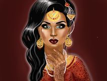 Portrait of Indian woman illustration vector illustration